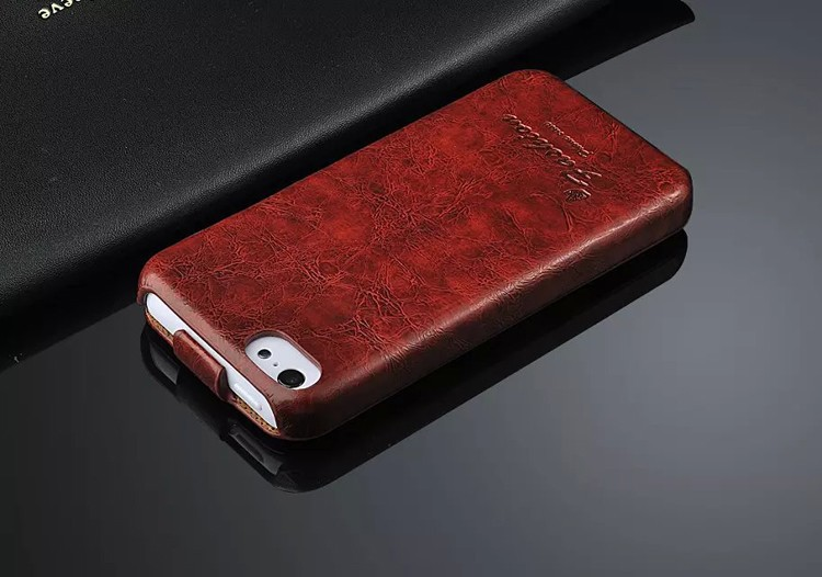 100% Genuine Leather Vertical Flip Cover <font><b>Case</b></font> for Apple <font><b>iPhone</b></font> 5 <font><b>5S</b></font> SE Top Quality Fashion Brand <font><b>Original</b></font> Oil-wax Simplicity image