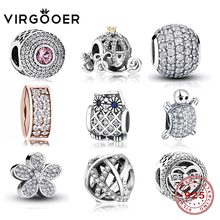 Virgooer Fits Original Pandora Charms Bracelet Diy Jewelry Crystal Spacer Stopper Clip Flower Pendant 925 Sterling Silver Beads(China)