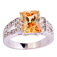 2015  Emerald Cut Champagne Morganite 925 Silver Ring Size 8 New Fashion Jewelry Gift For Women Wholesale Free Shipping
