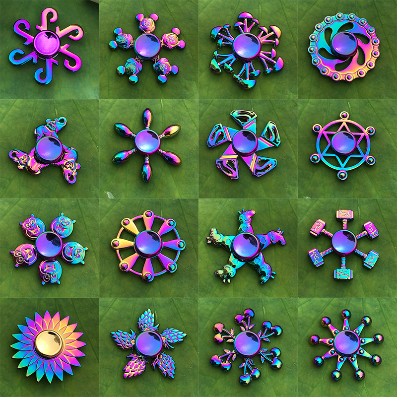 Multicolour Metal Alloy Fidget Spinner Rainbow Tri Fidget Wheels Gryo Hand Spinner R188 Electroplate Hybrid Bearing Children Toy
