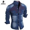 2016 Nova Moda Jeans Homens Camisa Lazer Slim Fit Casuais marca Denim Camisas de Manga Longa Mens Camisa Cowboy chemise homme SQWW