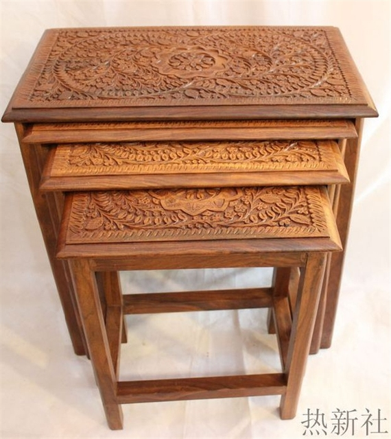 Pakistan imported wood carving table antique wood pure handmade coffee table coffee table stool