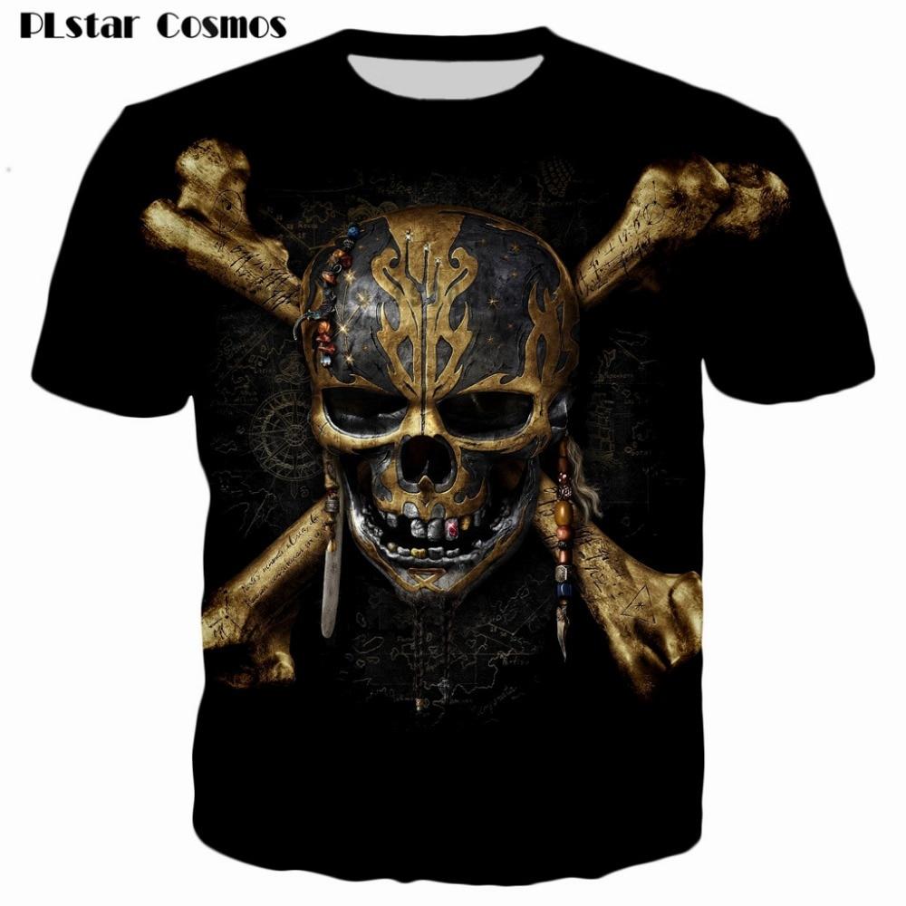 Skull head t shirts Men Women brand T-shirt Pirates of the Caribbean 3D printed summer style casual t shirt Drop shipping