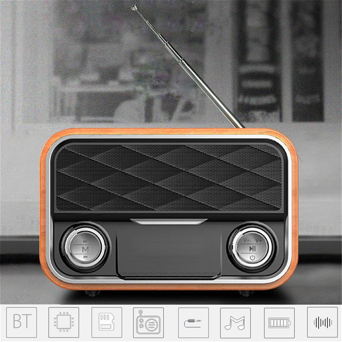 Wooden Bluetooth Speaker FM Radio Portable Audio Double Units Aux-in Stereo Bass Subwoofer Remote Control HIFI Wireless Speaker outdoor portable bluetooth speaker wireless waterproof bass loud speaker 3d hifi stereo subwoofer support tf card fm radio