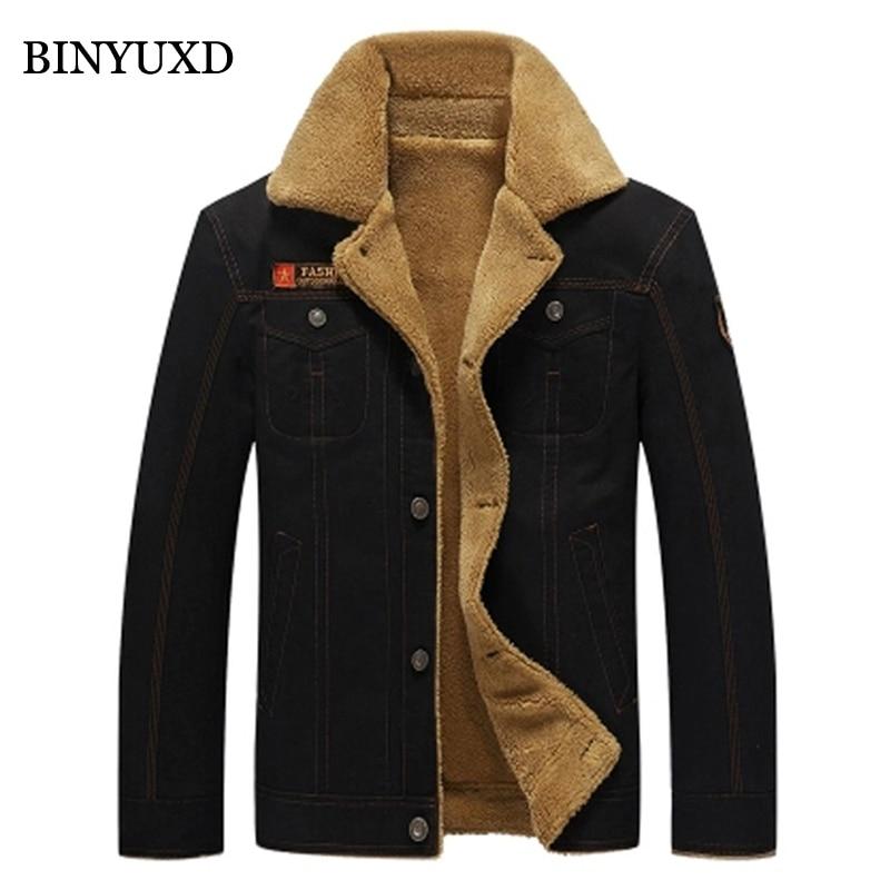 BINYUXD Cotton Denim jacket Men Bomber Military  Outwear Male winter jacket Slim Thick Plus Size 5XL Coats For Man Colored Khaki