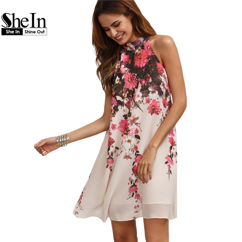 product SheIn Summer Short Dresses Casual Womens New Arrival Multicolor Round Neck Floral Cut Out Sleeveless Shift Dress