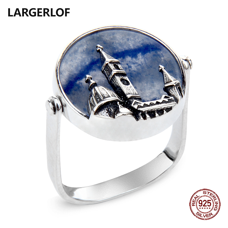 LARGERLOF Ring Silver 925 Women jade Ring Silver Handmade Fine Jewelry 925 silver Jewelry Vintage Ring RG70003 vintage artificial jade embossed ring for women