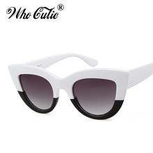 WHO CUTIE 2017 Oversized Cat Eye Sunglasses Versae Women Superstar Vintage White Black Cateye Sun Glasses Shades oculos OM347