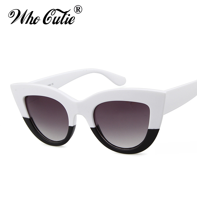 e26f74af98 WHO CUTIE 2018 Oversized Cat Eye Sunglasses Brand Designer Women Vintage  Black Lady Cateye Sun Glasses Shades oculos 347-in Sunglasses from Apparel  ...