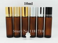 10 unids/lote Rollo de Vidrio Ámbar En Botella de 10 ml Marrón Botella de Aceite de Perfume Botella de Aceite Esencial 10cc con Metal de Acero bola