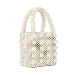 Image 4 - Pearl bag beaded box tote bag women party vintage acrylic plastic bucket handbag summer luxury brand white yellow blue wholesale