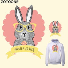 ZOTOONE Cute Glasses Bunny HIPSTER EASTER Iron Patch for Clothing A-level Washable Heat Transfer T-shirt Dress DIY Decoration D