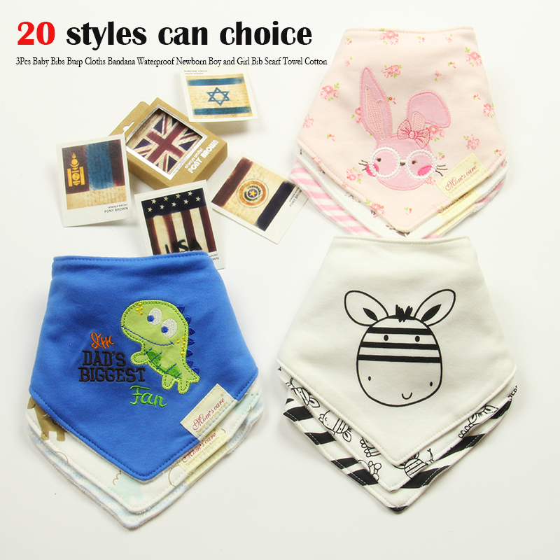 3Pcs Baby Bibs Burp Cloths Bandana Waterproof Newborn Boy and Girl Bib Scarf Towel Cotton Drool Accessories 2016 High-quality