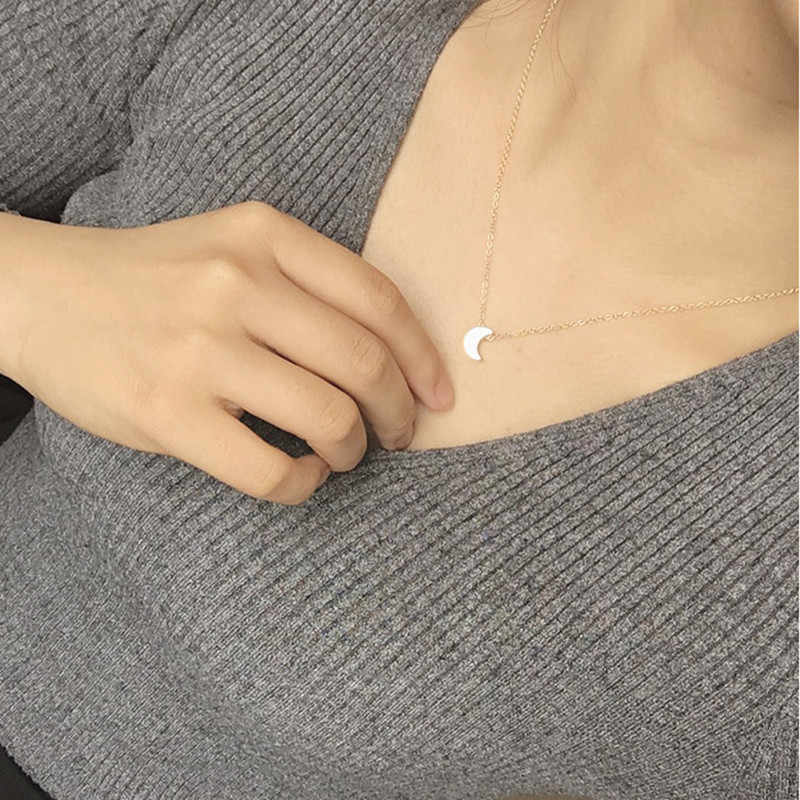 2019 Hot Fashion simple thickening moon pendant necklace for women Europe and America jewelry necklace female wholesale