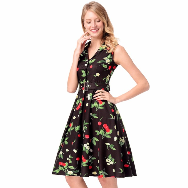 Thyy Women S Summer Dress Casual Clothes Print Cherry Elegant Y Office