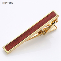 Newest High quality Tie Bar Wood For Men Lepton Tie clips High-grade hedgehog Rosewood Mens Business Wedding Tie Clip&Cuff links