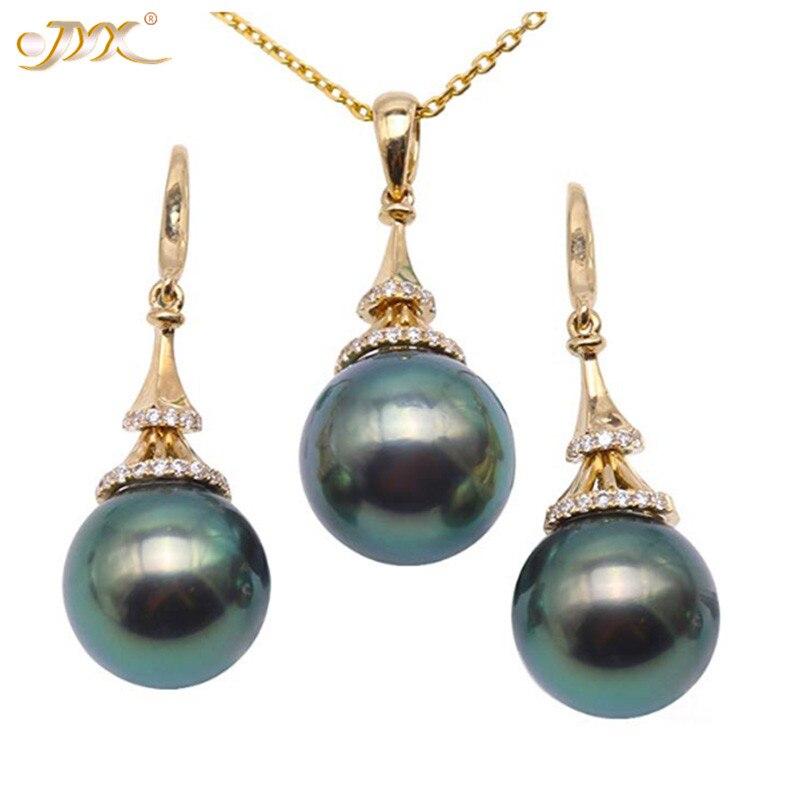 JYX luxueux ensemble de perles de tahiti vert paon or 18 K 10-10.5mm pendentif de perles de culture de tahiti colliers pendentifs bijoux en orJYX luxueux ensemble de perles de tahiti vert paon or 18 K 10-10.5mm pendentif de perles de culture de tahiti colliers pendentifs bijoux en or