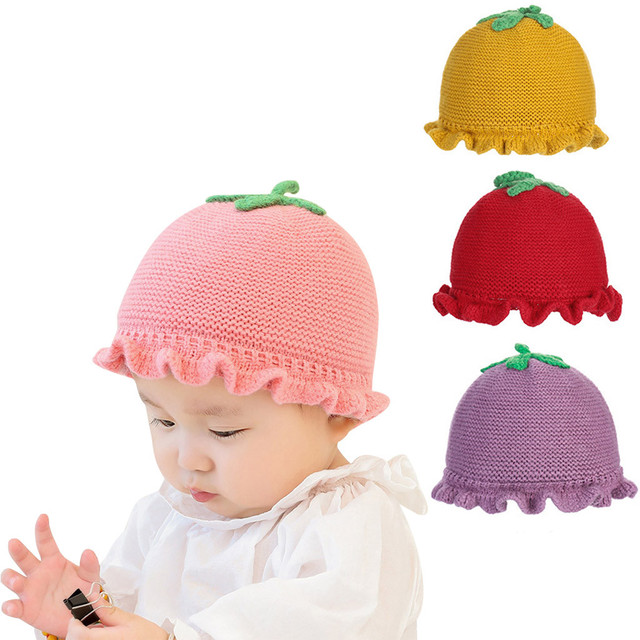 d2a25b40722 Small tomato shape wool cap baby hat Beanie Knitted Hat Baby Boy Girls  Winter Warm Toddler Cap Candy Color Beanies  YL