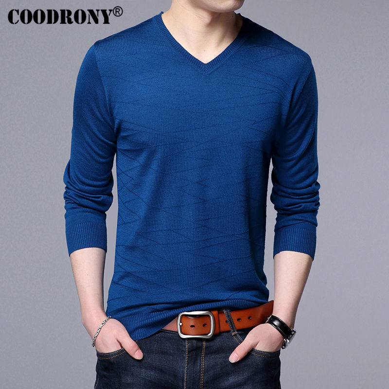 Men's Clothing ... Sweaters ... 32792237527 ... 4 ... COODRONY Knitted Wool Pullover Men Casual V-Neck Sweater Men Brand Clothing Mens Cotton Sweaters Slim Fit Pull Homme Shirts 7129 ...