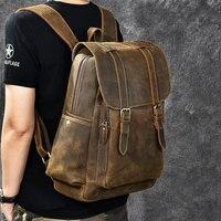 Брендовая Дизайнерская обувь Для мужчин масла из натуральной кожи рюкзак Винтаж Рюкзак Мульти карман рюкзак для путешествий из натурально