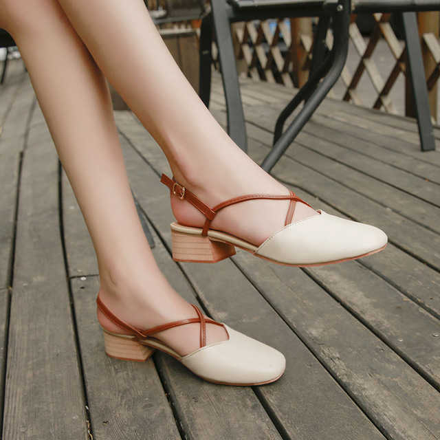 c08aa35a240 Ladies walking sandles striped block Square heels flat Sweet Ankle Strap  Shoes Comfortable Soft Sole Summer Sandals Slip on Shoe