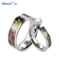 Green Camo Engagement Wedding Ring Set Titanium 6 Prong Setting CZ Engagement Ring With Men S