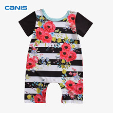 2017 Brand New Toddler Infant Newborn Baby Boy Girl Striped Floral Romper Jumpsuit Playsuit Clothes Short Sleeve Outfits Clothes