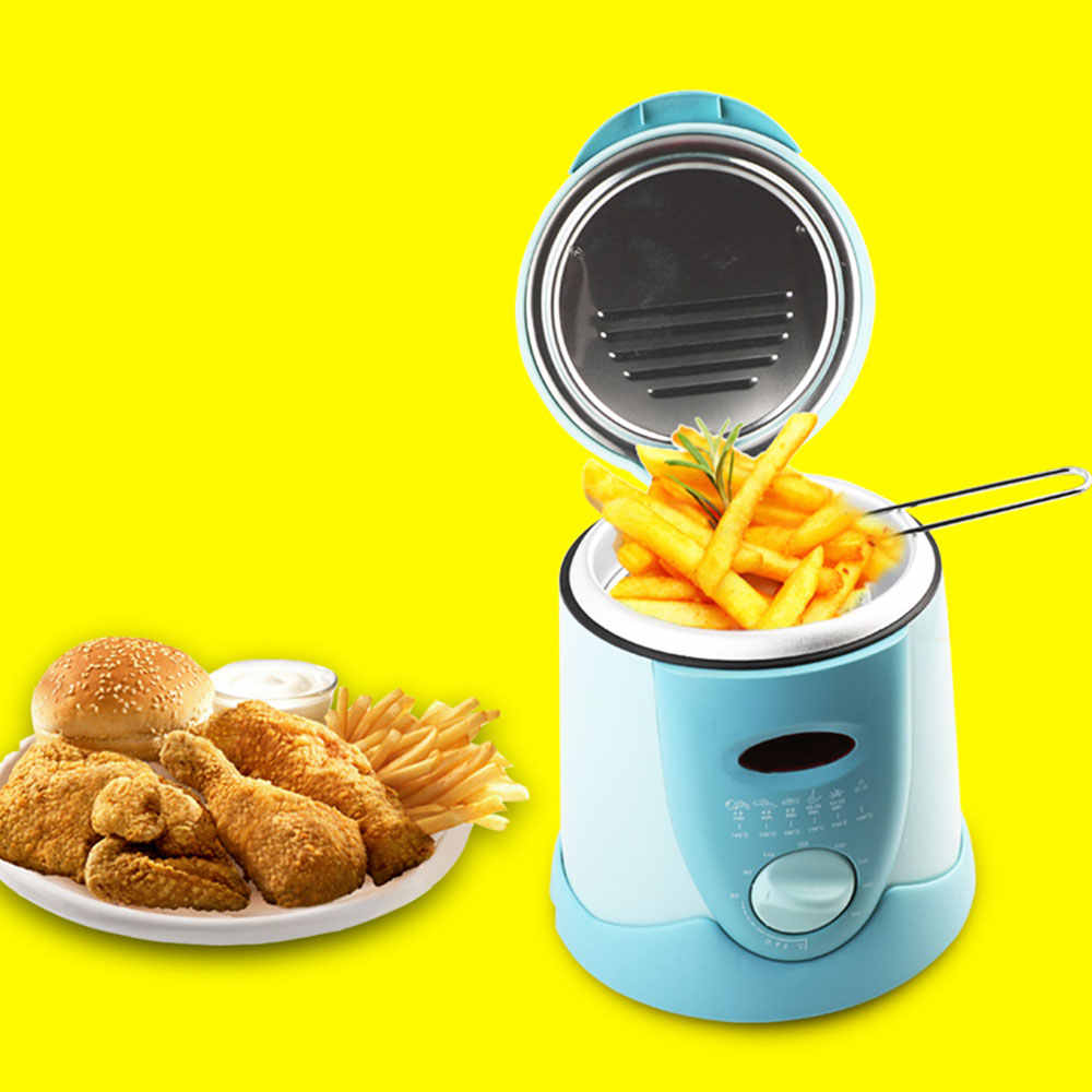 0.9L 220V Mini Home Electric Deep Fryer Stainless Steel French Fry Maker Electric Fryer French Fries Machine Mini Flour Screen