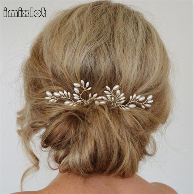 Zinc Alloy 1pc Wedding Hair Accessories Bridal Clips Pearl Stick Pin