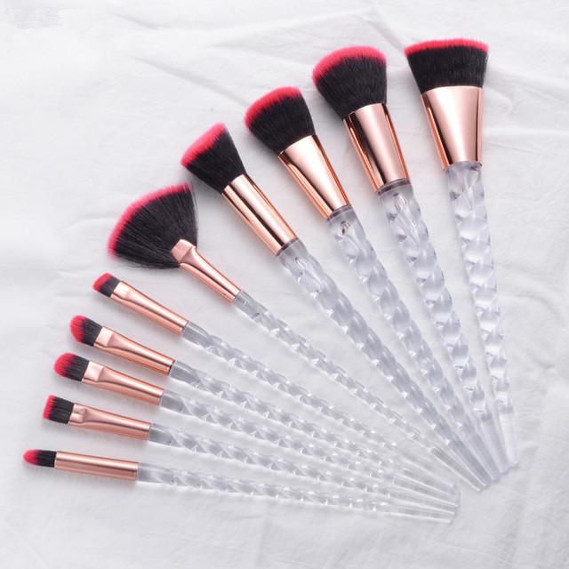 10pcs Unicorn Makeup Brushes Sets Maquiagem Foundation Powder Cosmetic Blush Eyeshadow Women Beauty Glitter