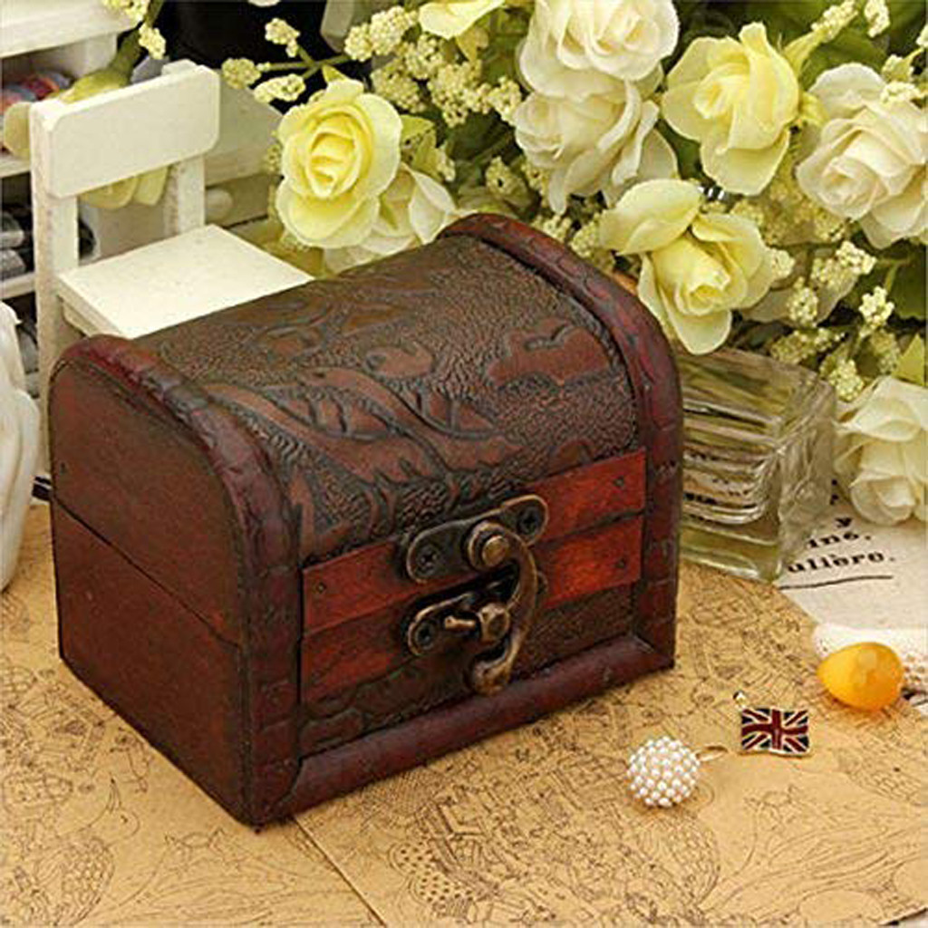 Decorative Trinket Jewelry Storage Box Handmade Vintage Wooden Treasure Case  Jewelry Package  Wooden Storage Box Tool Home