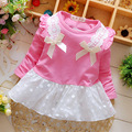2016 Hot Sale Spring Summer Long Sleeve Bow Knot Flower Dresses Girls Cute Cotton Dress Baby Girl Dresses 1pcs Children Clothes