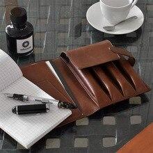 Wancher PEN POUCH estuche de pluma de cuero genuino de piel de vaca 4 plumas funda, soporte conjunto con caja de regalo Pen bag pen storage pencil bag