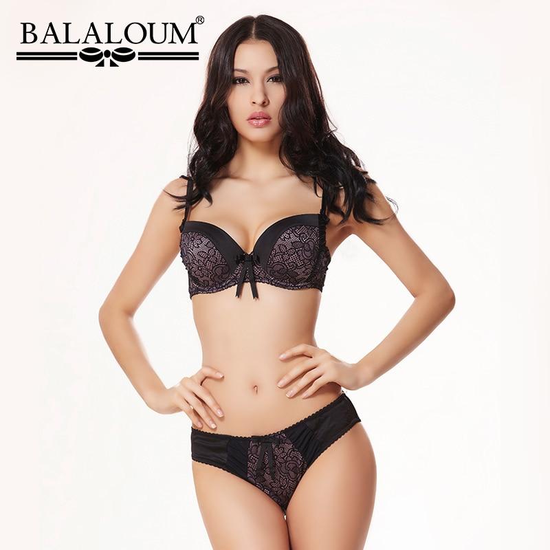 Balaloum Sexy Floral Lace 3/4 Cup Push Up Bowknot Women   Bra     Brief     Sets   Brassiere Seamless Soft Underwear Female Lingerie   Set