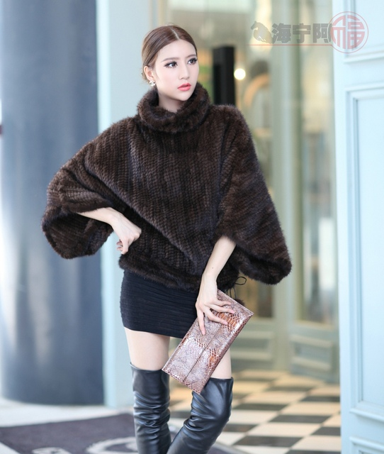 Autumn Winter Women's Genuine Real Knitted Mink Fur Coats Jacket Batwing Sleeve Lady Fashion Pullover Outerwear Coats VF0119