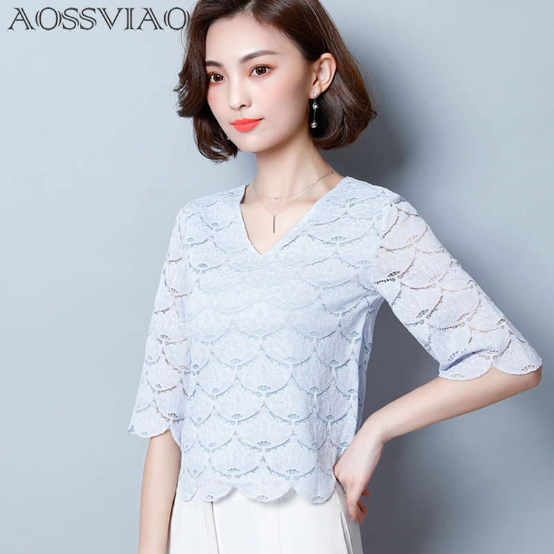 New Fashion Women Flower Blouses 2018 Summer Lace Blouse Sexy Half Sleeve Tops women Shirt Casual V-Neck Blusas Y Camisas Mujer