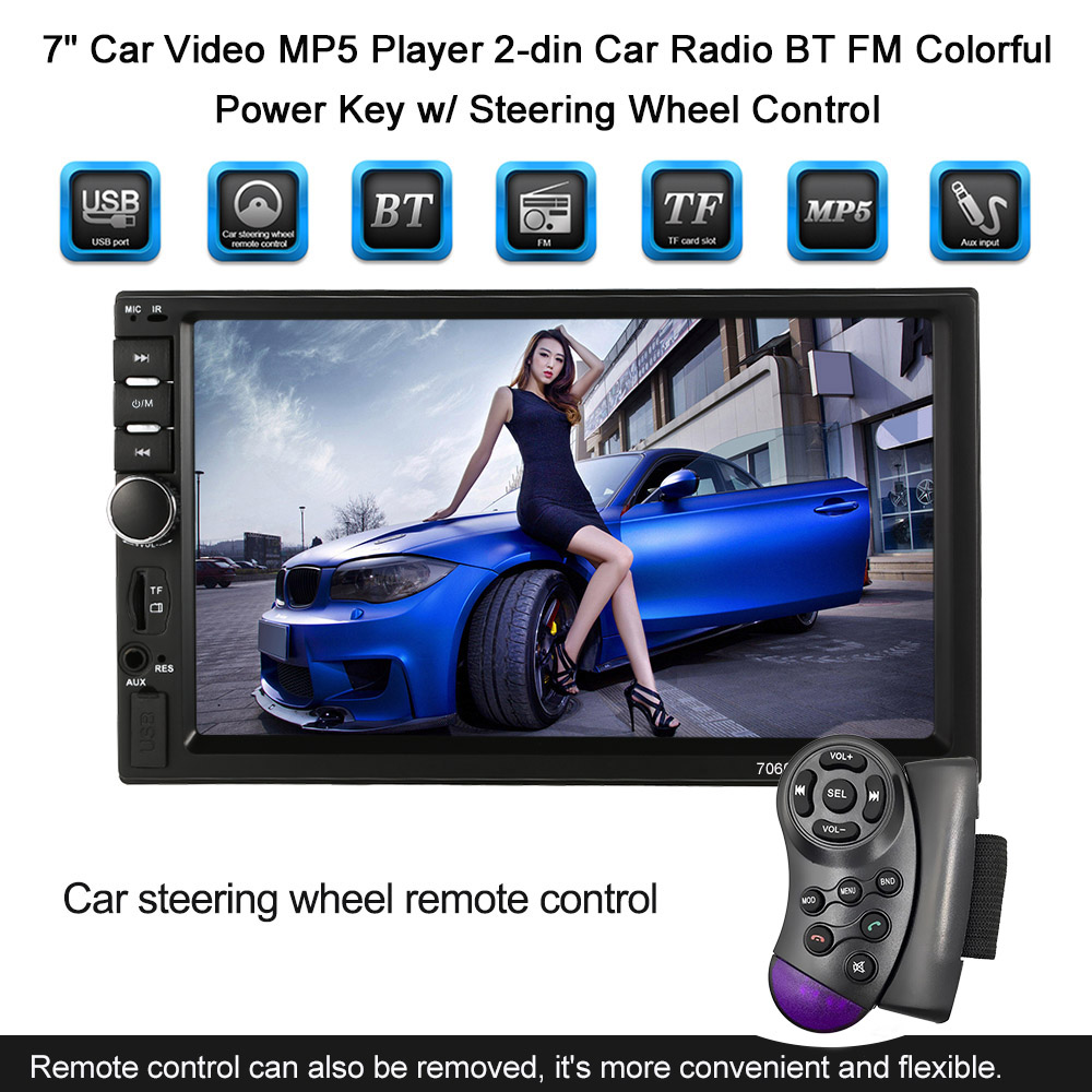 Hot Universal 7 Car Video MP5 Player 2-din Car Radio Rearview Camera BT FM Colorful Power Key w/ Support Steering Wheel Control 27mhz 2 ch 1 14 scale a key switch doors steering wheel remote control car w lamp red black