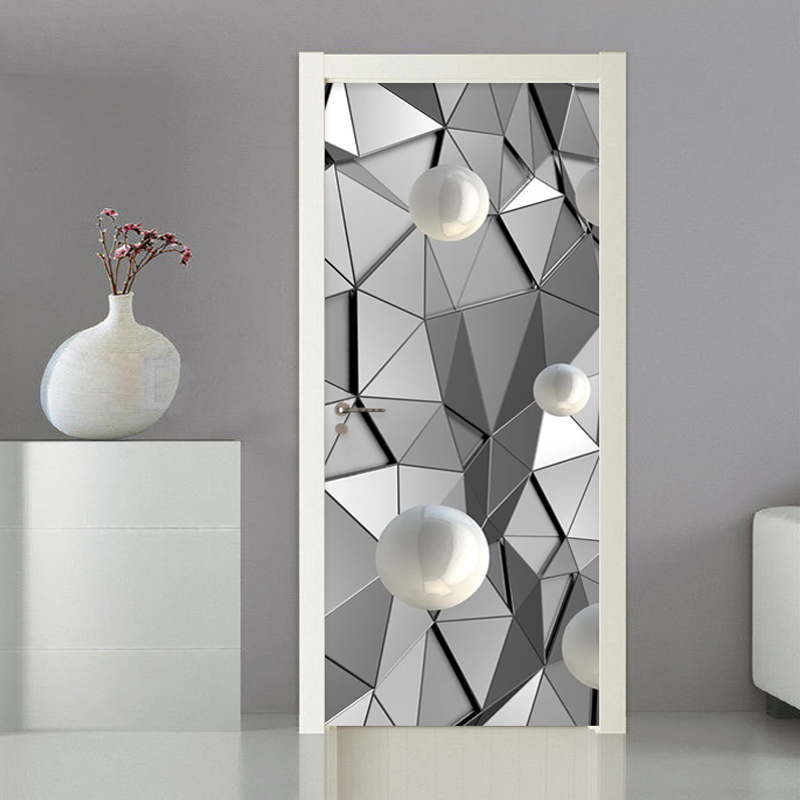 3D Stereo Ball Geometry Imitation Metal Door Sticker Living Room Bedroom Creative DIY Home Door Decal Vinyl Poster 3D Waterproof