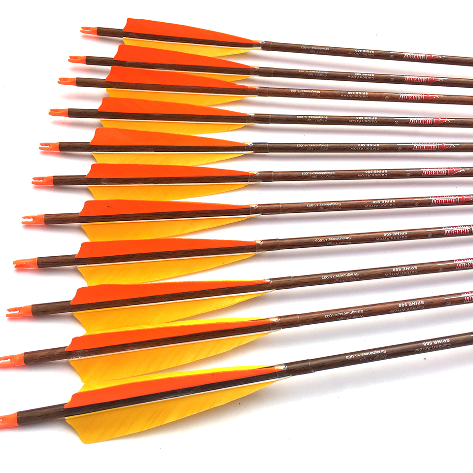12PCS Linkboy Archery Arrows 5 Turkey Vanes Carbon Arrow Shaft 32'' Wood Skin 75gr Points Compound Recurve Bow Hunting 12pcs linkboy archery 30inch spine 700 wood skin arrow shafts id4 2mm vanes point pin nocks for bow diy arrows hunting