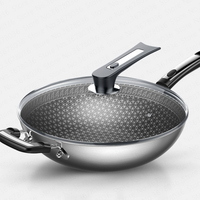 304 Stainless Steel Wok Non stick Pan Less Smoke Multi function Household Cooking Pot Induction Cooker Gas for Wok