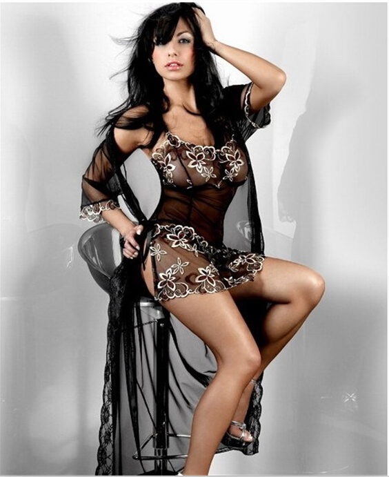 Q56 Plus Size Lingerie Women Sexy erotic lingerie sexy sleepwear nightgown pajamas gotic long dressing gown