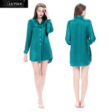 Lilysilk Nightwear Women Long Sleeve Nightdress Pure Silk Pure Buttons Bride Sleep Shirt  22 Momme Sexy Mini Summer Nightgown