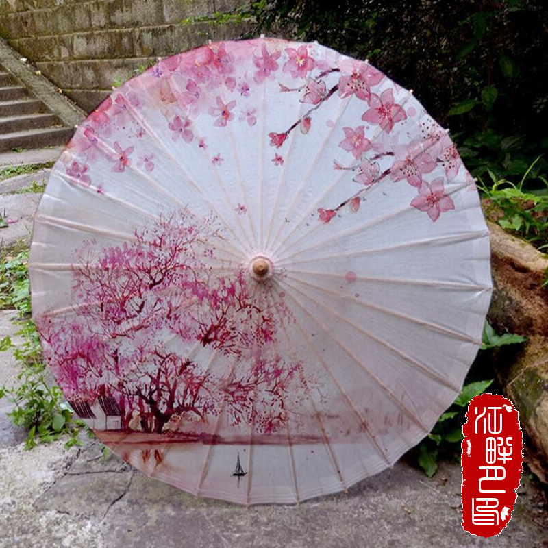 South Cassical Painting Peach Tree Blossoms Paper Umbrella Dancing Props Oiled Paper Parasol New House Hang Decoration