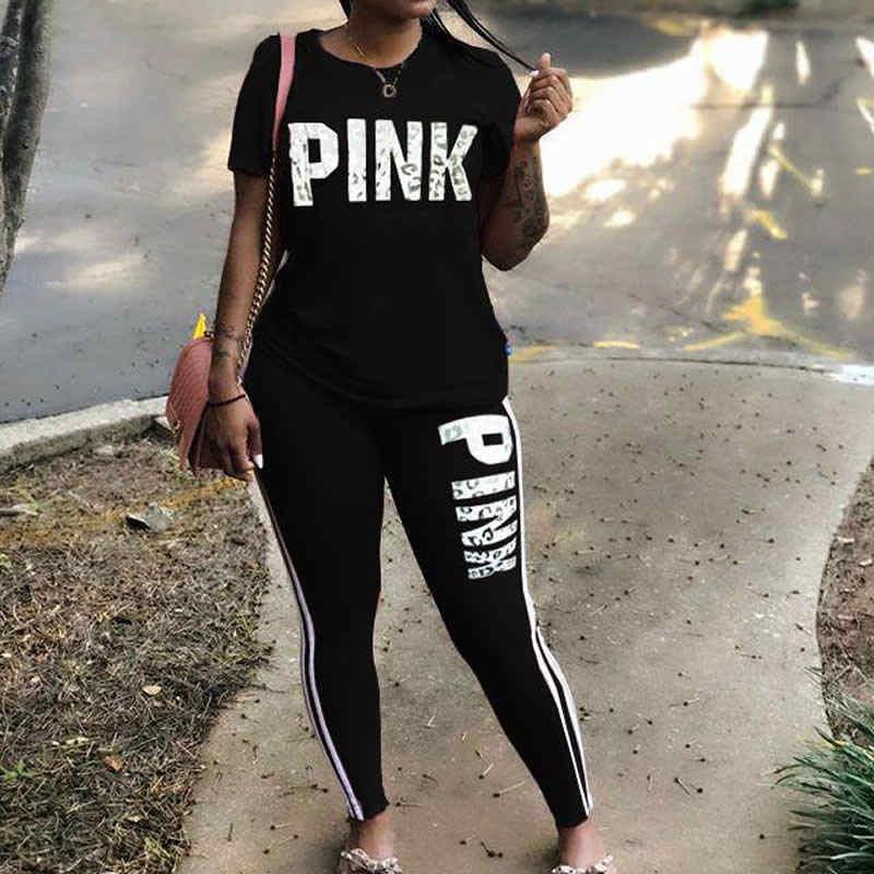 Vrouwen Tweedelige Set 2019 Zomer Roze Brief Print Trainingspakken Plus Size T-shirt Top En Broek Set Suits Casual Bodcon 2 Delige Set