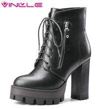 VINLLE/2016 г. женские ботинки со шнуровкой в западном стиле Стиль Осенняя обувь из полиуретановой кожи на платформе толстая зимняя обувь на высоком каблуке Женские ботильоны размеры 34–42