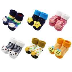 Детские носки тапочки Нескользящие хлопковые носки для новорожденных 2018 осень-зима для маленьких мальчиков и девочек мягкие теплые милые