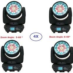 4 paczka DHL wysyłka wiązki mycia ruchome światła 19X15W RGBW cztery kolory lampy z ruchomą głowicą koło sterowania 5-60 stopni Zoom dla Dj KTV