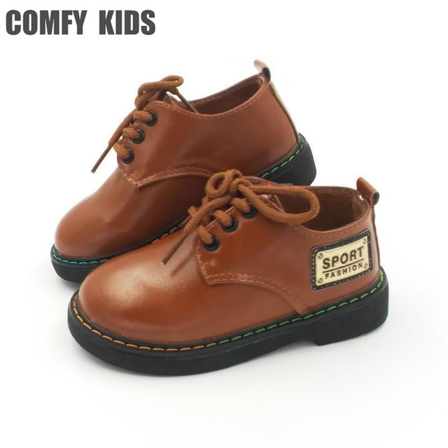 2018 New Fashion Boys Leather Shoes For Child Spring Leather Shoes Girls  Flat With Size 21-25 Baby First Walkers Toddler Shoes 5241c4f8e946