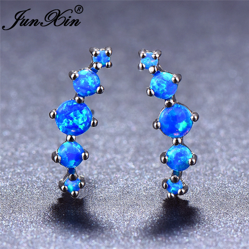 JUNXIN Luxury Blue Fire Opal Stud Earrings For Women Silver Color Round Stone Rainbow Birthstone Earrings Jewelry