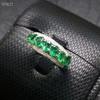 KJEAXCMY boutique jewelry 925 pure silver inlaid natural emerald ring support detection